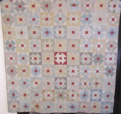 PA Farmhouse c 1900 Monkey Wrench QUILT Vintage BLUES Grays Industrial