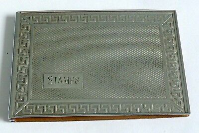An Art Deco Chrome Plated Stamp Case With Gilt Inner