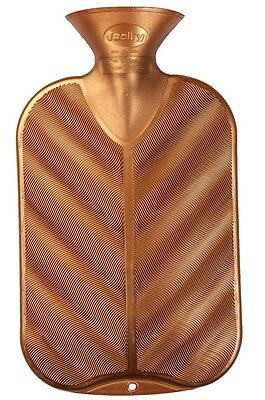 Fashy Hot Water Bottle 3d Effect Wave Ribbed Coper Silver Metallic Rubber Free