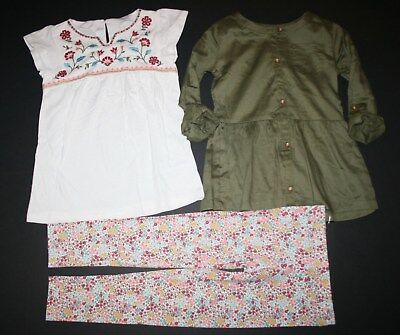 """New Carter/'s Ivory with Black Floral Print /""""24/"""" Glitter Top NWT 2T 3T 4T 5 6 Kid"""