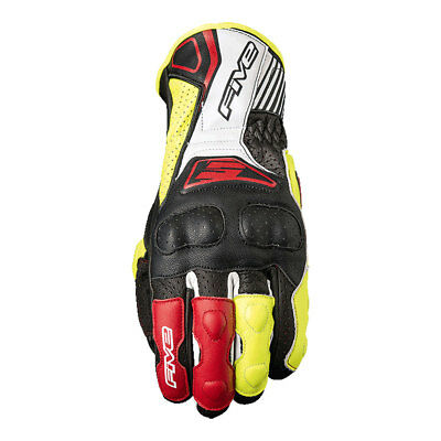 Five RFX4 Replica Black / Fluo Yellow Motobike Leather Sports Gloves All Sizes