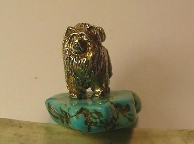 Royal Faberge Dog Chow-Chow Imperial Russian 84 Silver Diamonds Turquoise