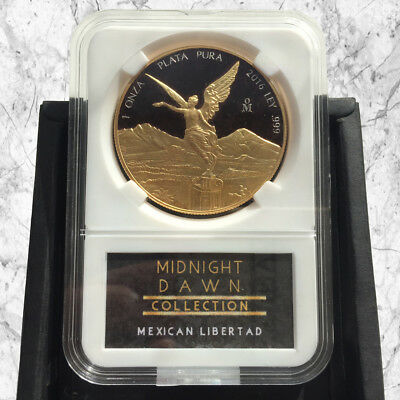 1 Oz Mexican Libertad Silver Coin- 24Ct Gold & Black Midnight Dawn Collection