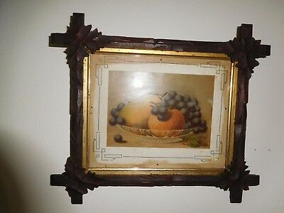 Antique Walnut Mission Frame Carved Leaves Fruits Print Arts & Crafts Vintage