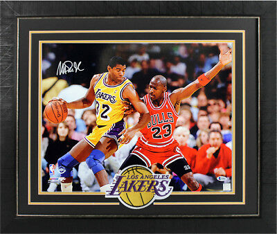 f1c52b426b19 Lakers Magic Johnson Signed   Framed 16X20 Photo Vs Michael Jordan BAS  Witnessed