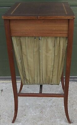 Antique Victorian Inlaid Mahogany Fold-Open Sewing Cabinet