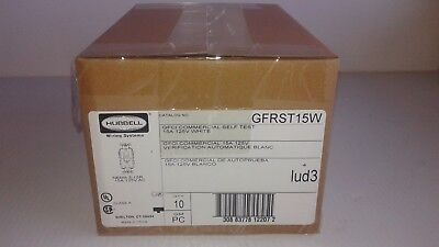 QTY. 10 Hubbell GFRST15W Self Test GFCI Receptacle 15 Amp 125 Volt White
