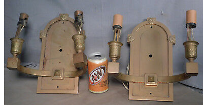 Pair Neoclassical BRASS Arts Crafts Square Tube Wall Sconce Handmade 1915 Double
