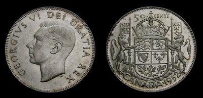 Canada 1952 King George VI Silver Fifty 50 Cent Piece MS-62
