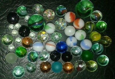 LOT OF 50+ MIXED LARGE & SMALL VINTAGE & MODERN GLASS MARBLES 8mm to 22mm