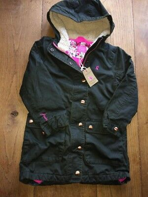 Joules Junior girls brand new faux wax Parka coat Khaki Green Age 6