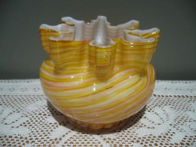 End Of Day / Spatter Glass Hand Made Ruffled Bowl In Pink & Yellow - Vintage Vgc