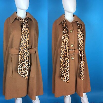 Vintage Leopard Print and Wool Cape