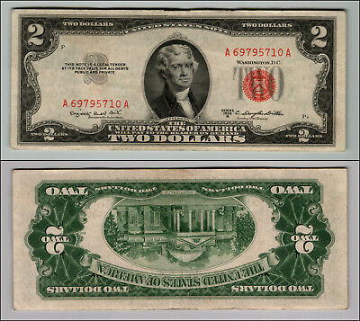 1953B $2 Dollar Bill Old Us Note Legal Tender Paper Money Currency Red Seal P53
