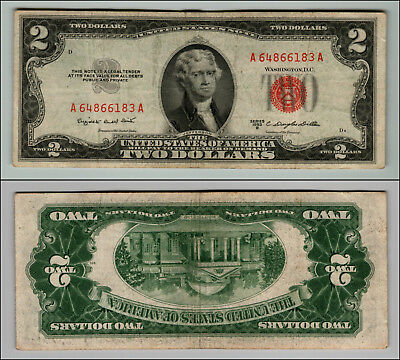 1953B $2 Dollar Bill Old Us Note Legal Tender Paper Money Currency Red Seal P54