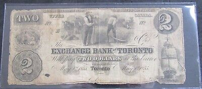 1855 Exchange Bank of Toronto $2.00 Note