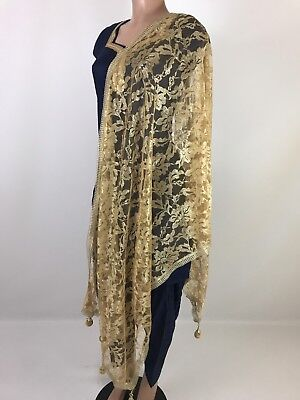 $9.99 Partywear  Gold Dupatta Indian  Wedding Fancy  Scarf  Match any Dress Suit