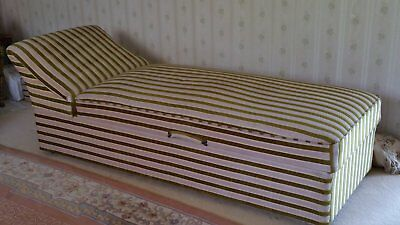 Vintage green/beige chaise lounge with substantial storage in great condition
