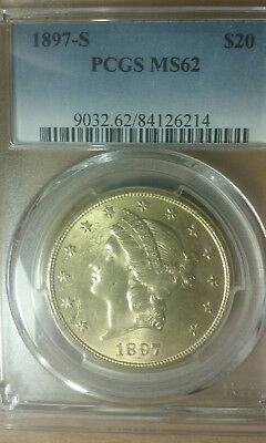 1897-S 20 Dollar Liberty Gold Coin In Pcgs Ms 62 Uncirculated Condition
