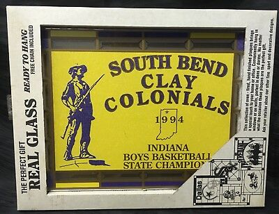 Vtg Stained Glass South Bend Clay Colonials 1994 Indiana Basketball State Champs