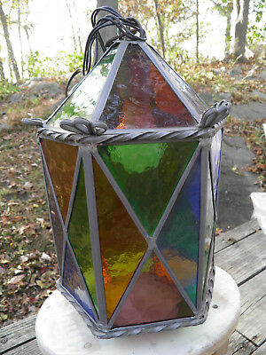 Antique Leaded Stained Glass Hanging Light Fixture Decorative Decor Works Fine!