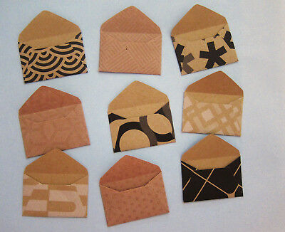"Handmade miniature envelopes 1""x1-1/2"" KRAFT PRINTS paper tiny small mini fairy"