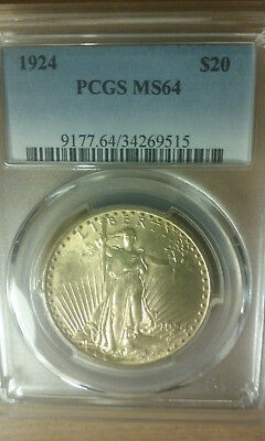 1924 20 Dollar St Gaudens Gold Coin In Pcgs Ms 64 Uncirculated Condition