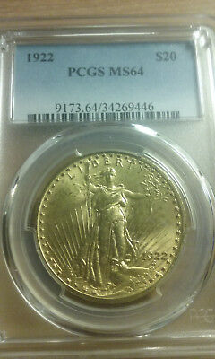 1922 20 Dollar St Gaudens Gold Coin In Pcgs Ms 64 Uncirculated Condition