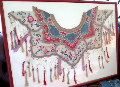 ".c1860 CHINESE QING DYNASTY WEDDING CEREMONIAL EMBROIDED SILK ""CLOUD COLLAR"""