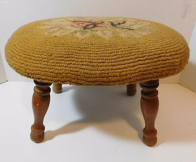 Vintage TAPESTRY FOOT STOOL Solid Wood 4 Legged Oblong Foot Rest