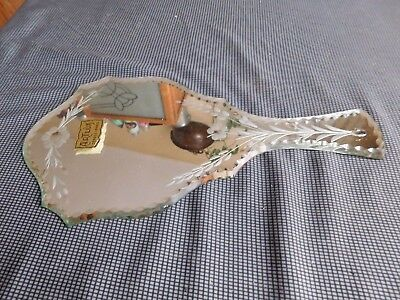 Antique facing hand mirror Artlux dans le taste Venetian pattern flowers beveled