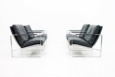 1x Preben Fabricius Lounge Chair in black Leather and Chromed Steel 1972 Knoll