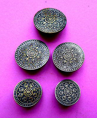 Antique 5 French,a.p. Of Paris Back  Brass Buttons.