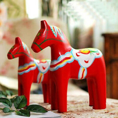 2Pcs Vintage Wooden Swedish Handpaint Carved Horse Wedding Home Christmas Gift