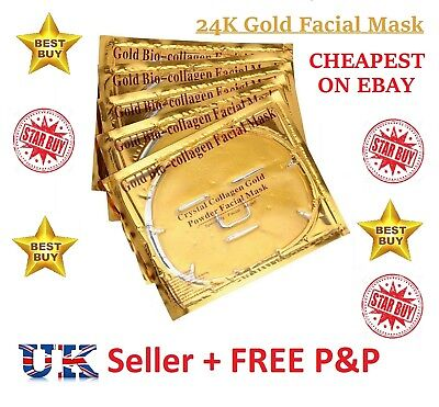 24K Gold Bio Collagen Face Lip Mask Wrinkle Tired Crow Feet Puffy Eye Treatment<