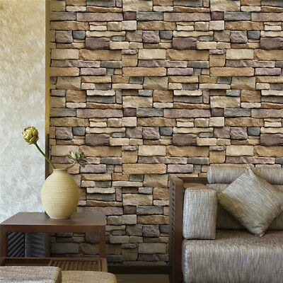 10PCS 3D Stone Brick Wallpaper Background Modern Mural Living Room Roll AU Stock
