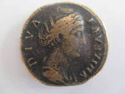 Ancient Roman Sestertius Ae Coin; Faustina Sr. Reverse; Ceres Standing .141 Ad