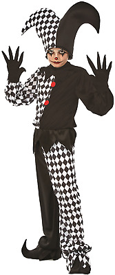 fde4c04dcceb1 Boys Harlequin Jester Clown Halloween Horror Scary Fancy Dress Costume  Outfit