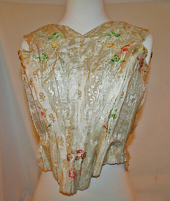 Antique Silk Corset Lovely Embroidered Silk * A. Barnes NY * Study / Restore
