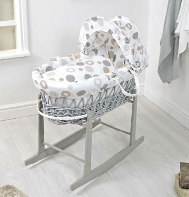 New 4Baby Grey Wicker / Grey Bubbles Deluxe Baby Moses Basket & Rocking Stand