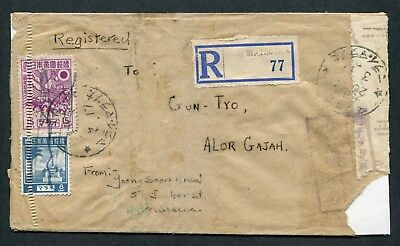 1945 Malaya Japanese Occup. 8c & 15c stamps on Reg. Censored cover to Alor Gajah