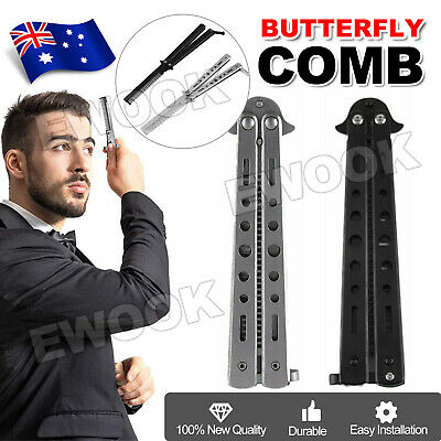 NEW Practice Butterfly Balisong Trainer Comb Knife Dull Blade Folding Black AU