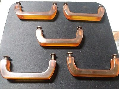 Vintage Bakelite Catalin Set Of 5 Applejuice Drawer Pulls Handles