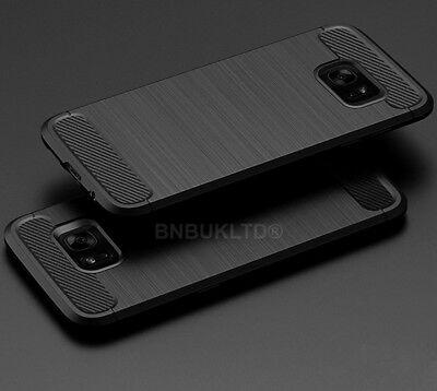For Samsung Galaxy S7 Edge Carbon Fibre Gel Case Cover Brushed Shockproof Hybrid