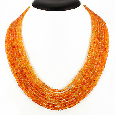 317.05 Cts Natural Rich Orange Carnelian 7 Strand Round Faceted Beads Necklace