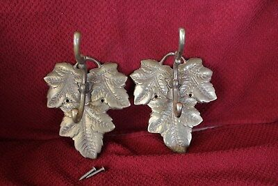 Set of 2 Vintage Large Ornate Leave Wall Coat Rack 2-Hooks Hanger Hat Hook
