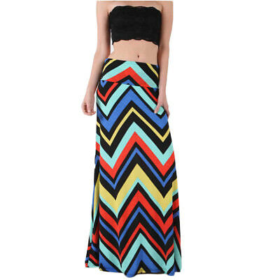 Chevron Print Maxi Skirt