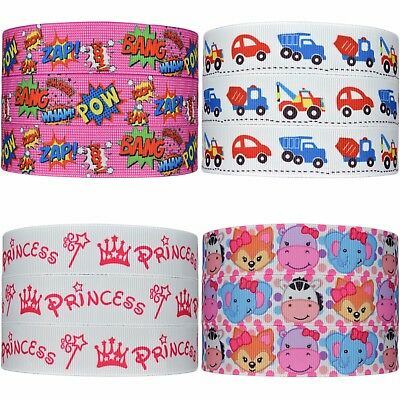 "Printed Cartoon Grosgrain Ribbon 22mm (7/8"") Hair Bow Party Cake Dummy Clips"
