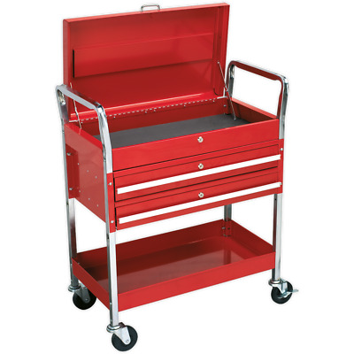 Sealey Heavy Duty 2 Level Workshop Trolley with Lockable Top Red
