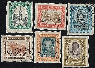 Liberia stamps. 1923 Local Motifs with overprint. Cancelled